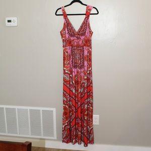 eci Size 14 Maxi Paisley Pink & Red Dress